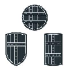 Monochrome medieval shields set vector