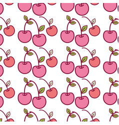 Red delicious cherry healthy fruit background vector
