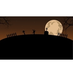 Scenery halloween and full moon vector