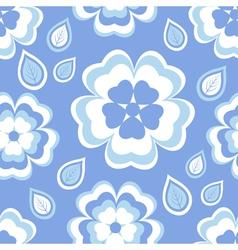 Seamless pattern blue with sakura blossom vector