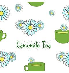 Seamless pattern camomile tea vector image