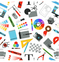 seamless pattern with different work tools for vector image vector image