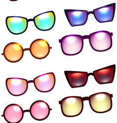 seamless texture with various sunglasses vector image