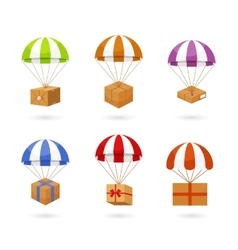 Set of colorful parachute carrying boxes vector