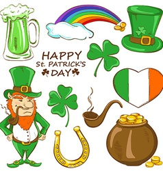 Set of st patricks day icons vector