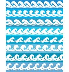set seamless waves vector image vector image