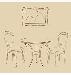 Sketched cafe interior vector