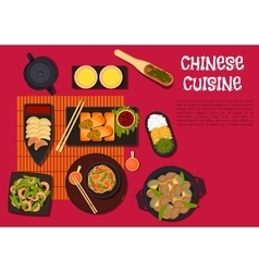 Spicy dinner with north chinese cuisine dishes vector