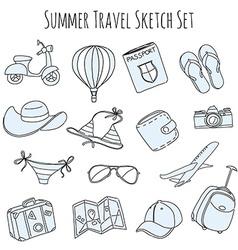 Summer vacation sketch doodle set vector image vector image