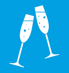 Two glasses of champagne icon white vector