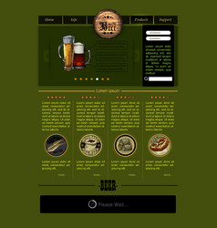 web site template with beer vector image vector image