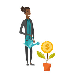 Young african businessman watering money flower vector