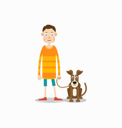 Young man is standing and his dog sits next to him vector