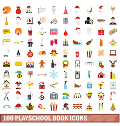 100 playschool book icons set flat style vector