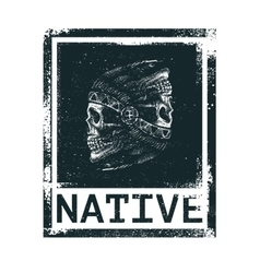 Skull indian chief hand drawing style vector