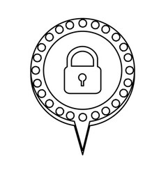 Monochrome silhouette of padlock and circular vector
