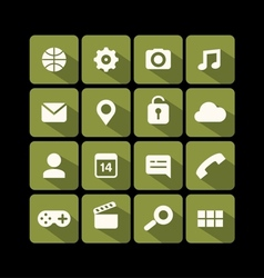 Flat icons green vector