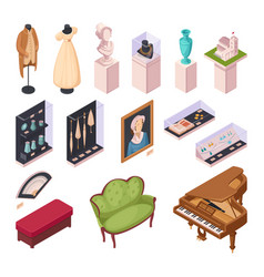 museum exhibition isometric icons set vector image