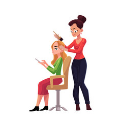 Hairdresser dying long hair of blond woman who vector