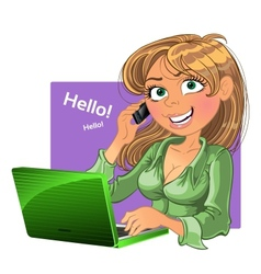 Blond woman with phone and laptop vector