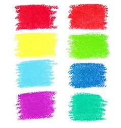 Set of pastel crayon spots isolated on white vector