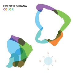 Abstract color map of french guiana vector