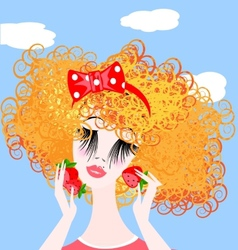 Girl with red berry vector