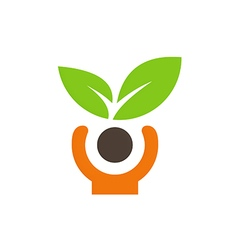 People green leaf vegetarian logo vector