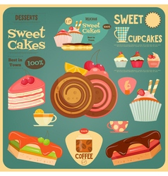 Sweet cakes card vector