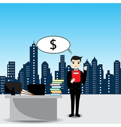 Businessman thinking to money in the office vector