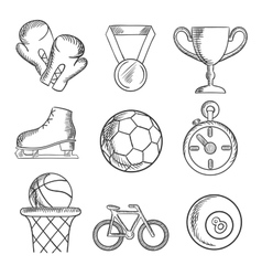 Isolated sketched sport games icons vector