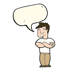 Cartoon muscular man with speech bubble vector