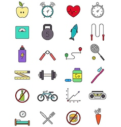Color healthy lifestyle icons set vector image