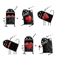 Character ugly eccentric monster in love with red vector