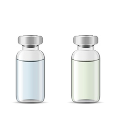 Glass medical vials with drug solution vector