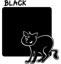 Color black and cat cartoon vector