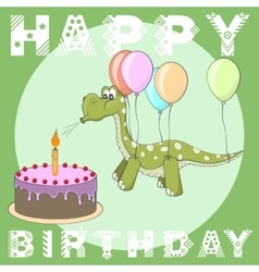 Happy birthday greeting card cake balloons dino vector