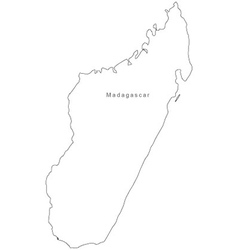 Black White Madagascar Outline Map Royalty Free Vector Image - Madagascar map outline