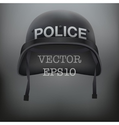 Background of police black helmet vector image vector image