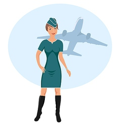 beautiful stewardess vector image vector image