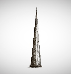 Burj khalifa drawing sketch style vector