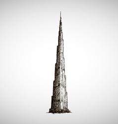 Burj Khalifa drawing Sketch style vector image