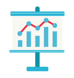 Business growing chart on board flat icon vector