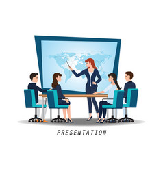 business woman presenting world business on vector image vector image
