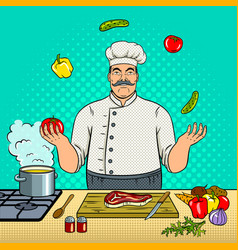 chef juggles with vegetables pop art vector image