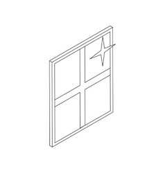 Clean shiny window icon isometric 3d style vector