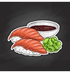 Color sticker sake nigiri sushi vector