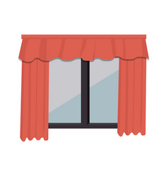 cute windows with courtain vector image