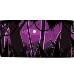 Deep tropical jungle with wood silhouettes and vector