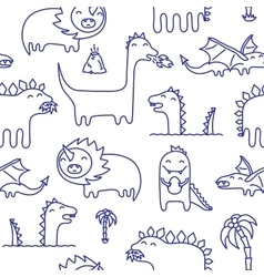 Dino ink doodles seamless pattern vector